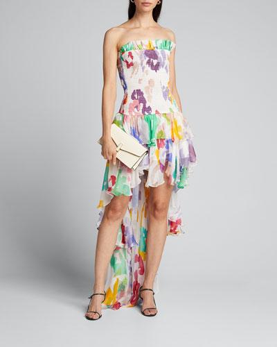 Lola Smocked Strapless High-Low Dress