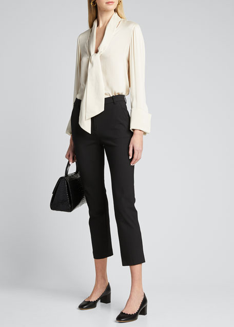 Image 1 of 1: Rosina French Cuff Blouse with Tie