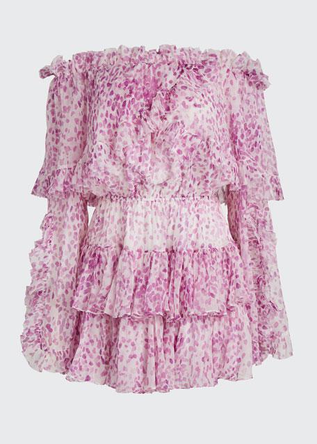 Dahlia Off-Shoulder Printed Ruffle Dress