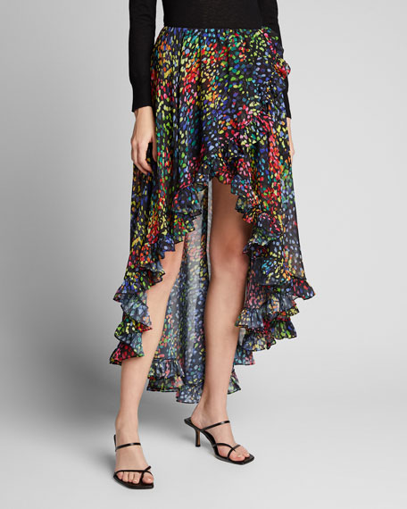 Adelle Printed High-Low Skirt