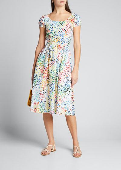 Marietta Printed Short-Sleeve Dress