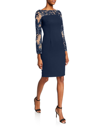 Sequin Crepe Sheath Dress