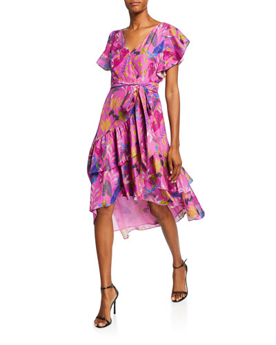 Dita Printed Short-Sleeve Wrap Dress