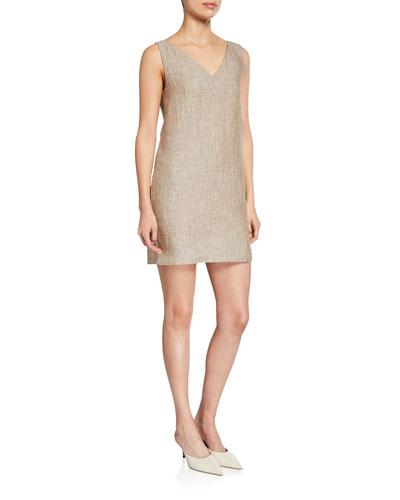 Striped V-Neck Sleeveless Linen Shift Dress