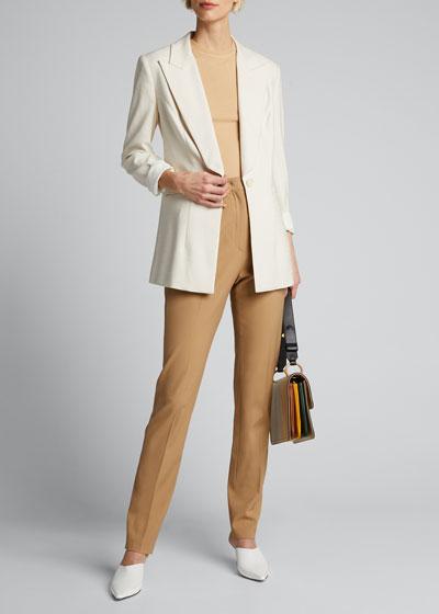 Dahlia One-Button Stretch Twill Jacket