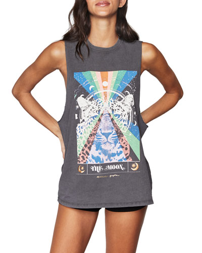The Moon Cut Off Graphic Band Tank