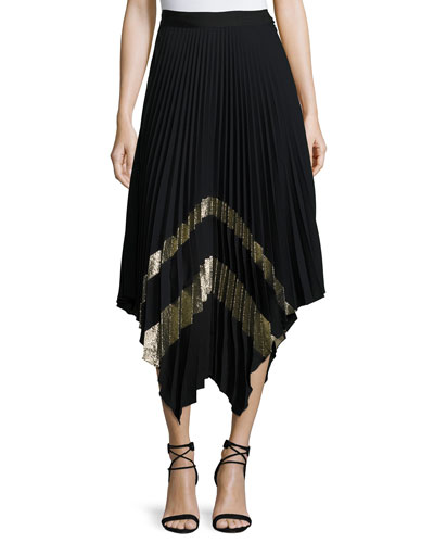 Palma Metallic Plisse Midi Skirt