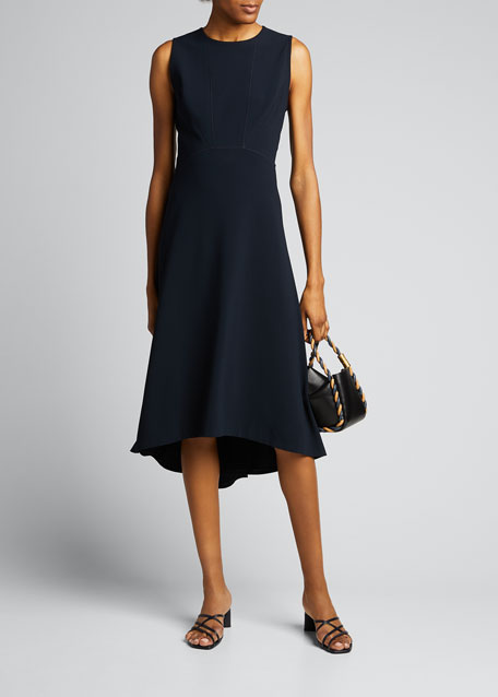 Image 1 of 1: Leighton Sleeveless High-Low Crepe Dress