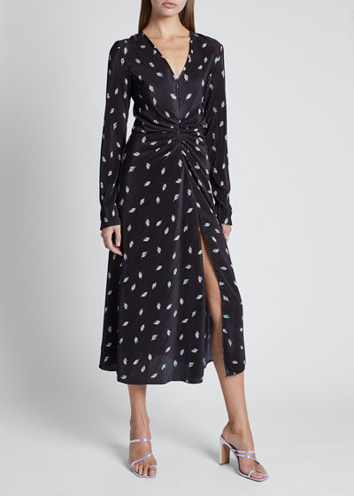 Number 7 Pleated Long-Sleeve Cocktail Dress