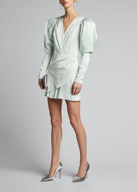 Image 1 of 1: Aiken Puff-Sleeve Cocktail Dress