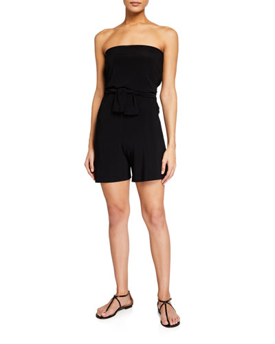 Tie-Front All-In-One Strapless Romper Jumpshort