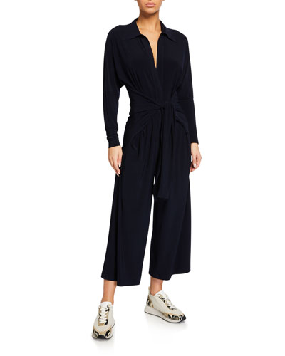 Tie-Front NK Shirt Cropped Jumpsuit