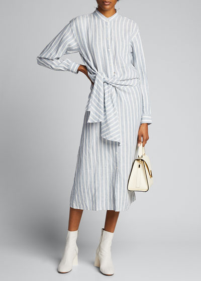 Striped Tie-Front Button-Down Dress