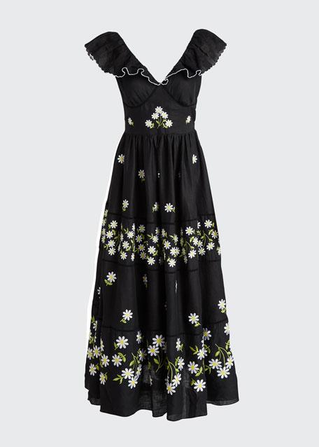 Embroidered Sleeveless V-Neck Maxi Dress