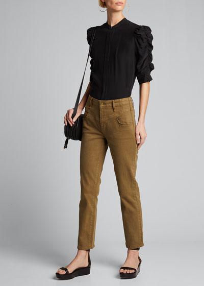 Shirred-Sleeve Button-Up Silk Shirt