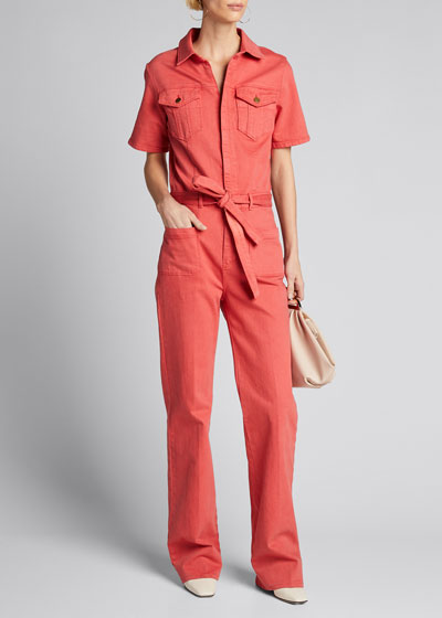 Le Bardot Belted Short-Sleeve Jumpsuit
