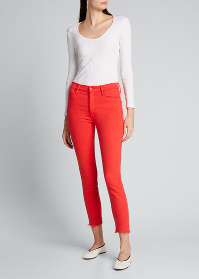 The Stunner Ankle Frayed Straight-Leg Jeans
