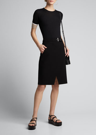 Gracelyn Belted Wrap-Front Skirt
