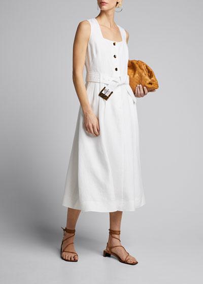 Chris Sleeveless Belted Lavish Linen Dress