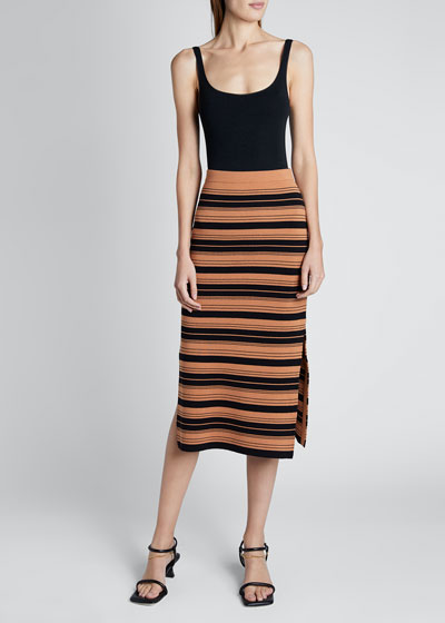 Compact Striped Midi Skirt