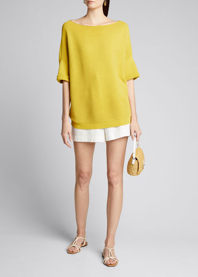 Bateau-Neck Cuffed Matte Crepe Sweater