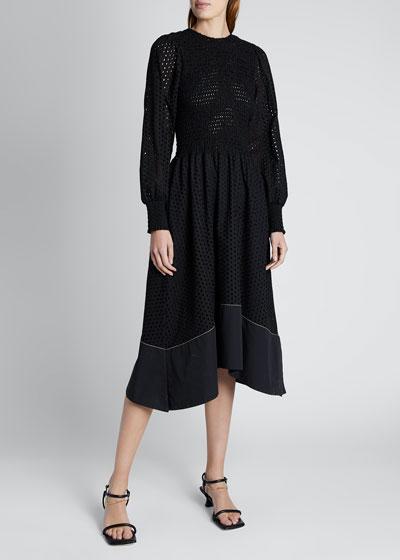 Smocked Long-Sleeve Midi Dress