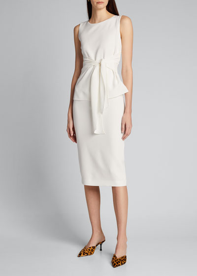 Lucy Sleeveless Tie-Front Finesse Crepe Dress