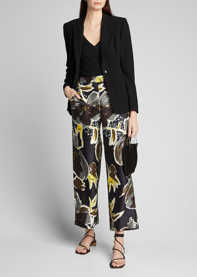 Riverside Poppy Print Sheen Cloth Ankle Pants