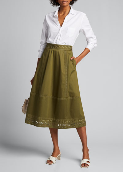Daisy Embroidered Midi Skirt