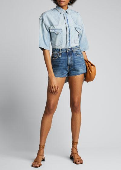 Skirted Raw-Edge Shorts
