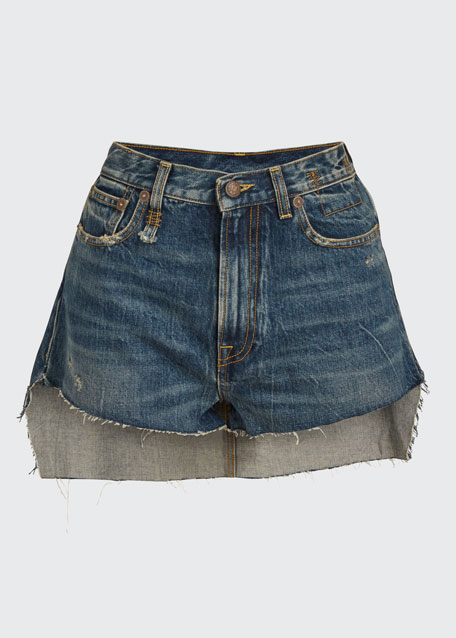 Skirted Raw-Edge Shorts