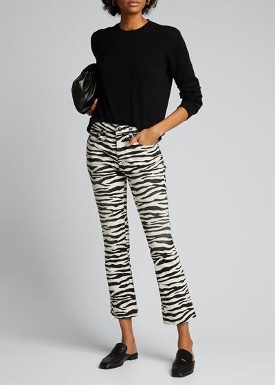 Kick Fit Zebra-Print Flare Jeans