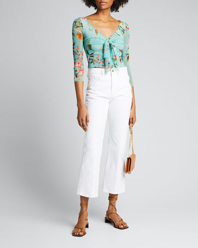 Floral Knot-Front 3/4-Sleeve Top