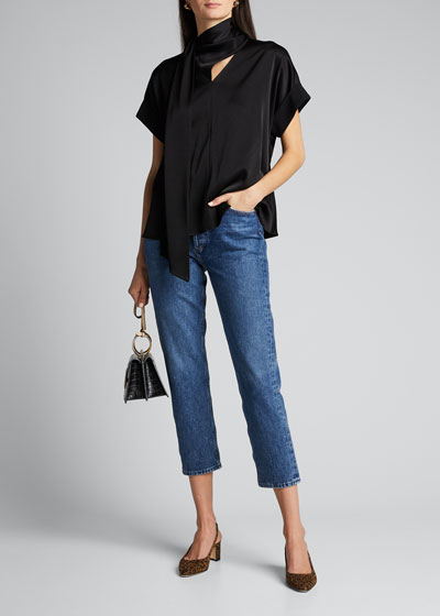 Rolled Sleeve Neck-Tie Satin Top