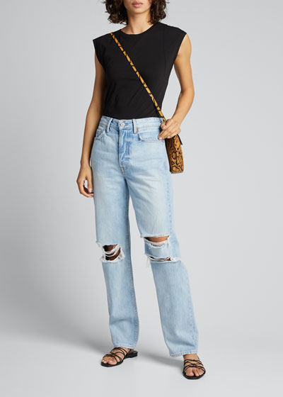Mica Distressed Straight-Leg Jeans