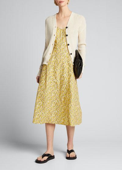 Floral-Print Corset Midi Dress