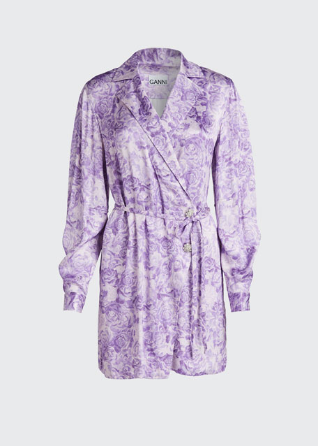Heavy Satin Floral Wrap Dress
