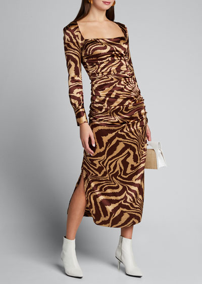 Stretch Satin Printed Square-Neck Midi Dress