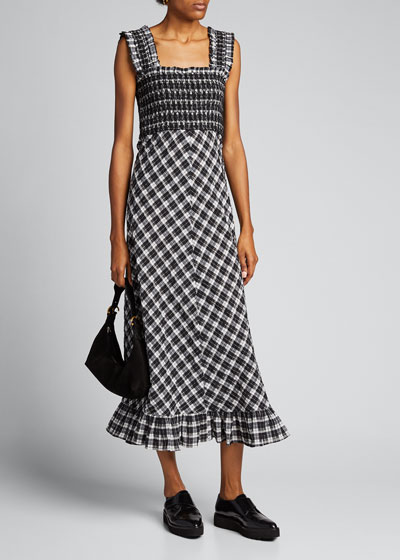Seersucker Check Sleeveless Midi Dress