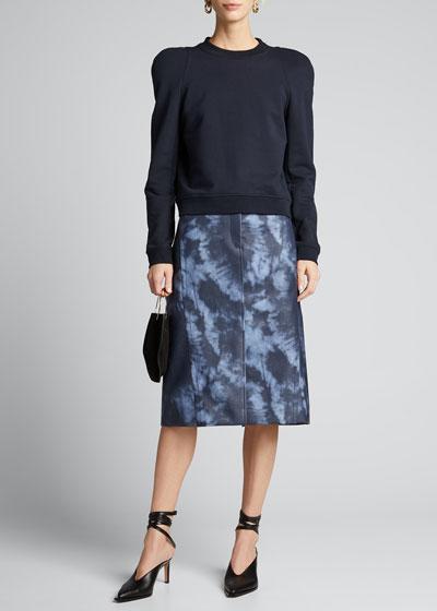Rubberized Tie-Dye Pencil Skirt