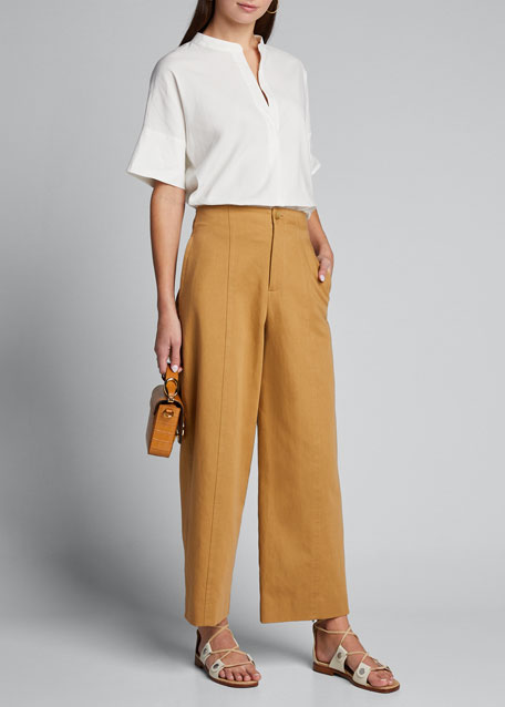 Image 1 of 1: High-Waist Twill Utility Pants