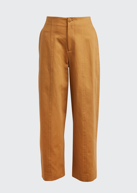 High-Waist Twill Utility Pants