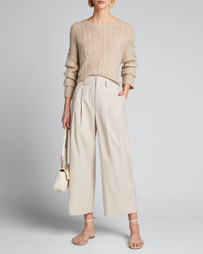 Crewneck Open Cable-Knit Sweater