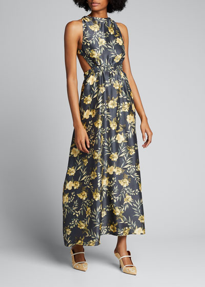 Carmen Cross-Back Floral Maxi Dress