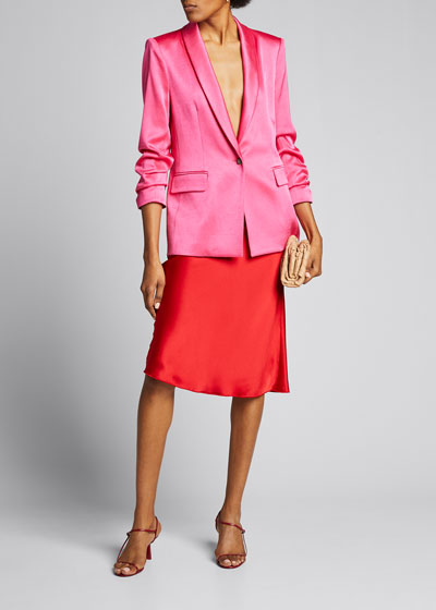 Sebastian Shawl-Collar Scrunch-Sleeve Blazer