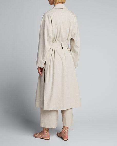 Side-Slit Linen Trench Coat