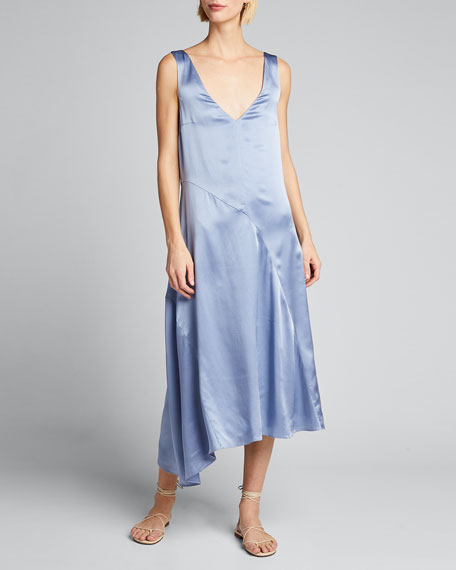 Double V-Neck Asymmetric Seamed Slip Dress