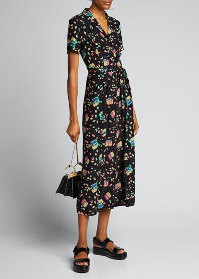 Maria Printed Button-Down Pajama Dress w/ Belt