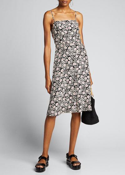 Atlanta Floral-Print Button-Front Strappy Dress