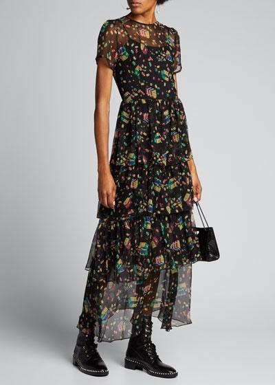 Brynn Printed Chiffon Tiered Gown